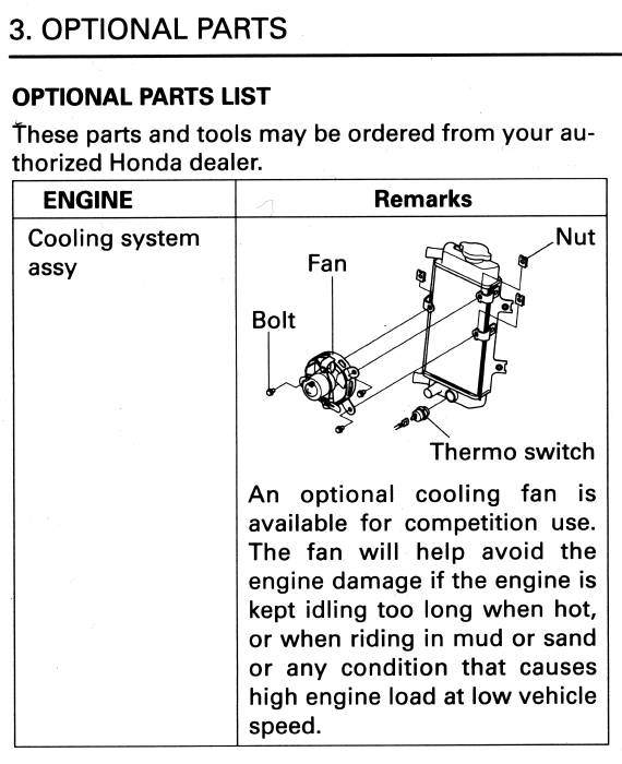crf250x introduction cr85rb wiring diagram optional cooling fan buying this fan is a no brainer for trail riders the mounting tabs are already on the stock radiator frame the honda part description